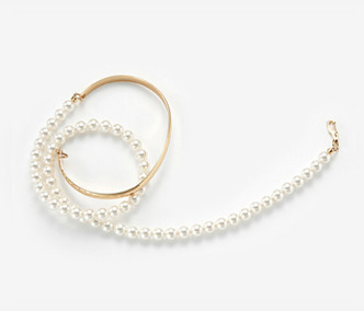 Long Pearl Wire Bangle