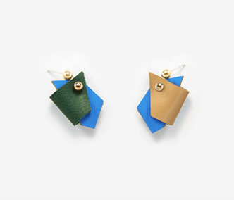 Overlapping Color Leather Earrings