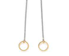 Drop two circles long necklace