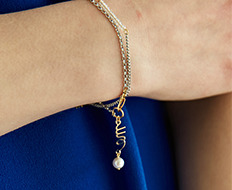 usual drop me pearl chain bracelet (2 colors)