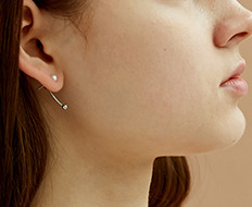 curve drop ball earrings - pearl (3 colors)