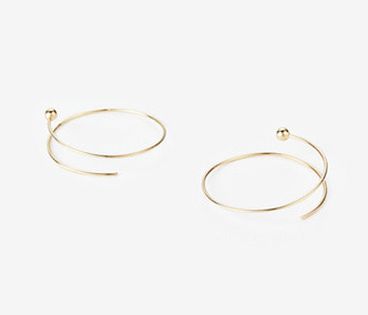 [PRECIOUS] Twisted Circle And Ball Earrings BIG