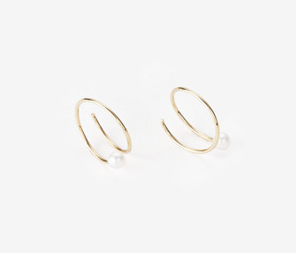 [PRECIOUS] Twisted Circle And Pearl Earrings SMALL