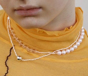 The pearl and silver ball necklace (10%off) - 제작기간 2주