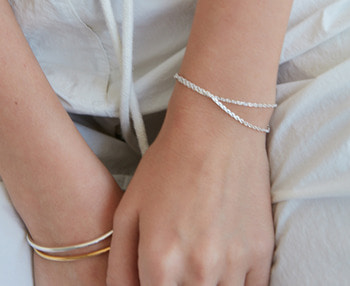 [usual ME] double chain silver bracelet (15%off)