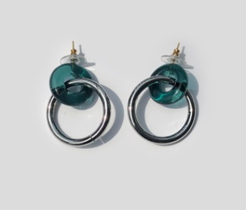 Donut Glass and Circle Earrings  Emerald (10% off)